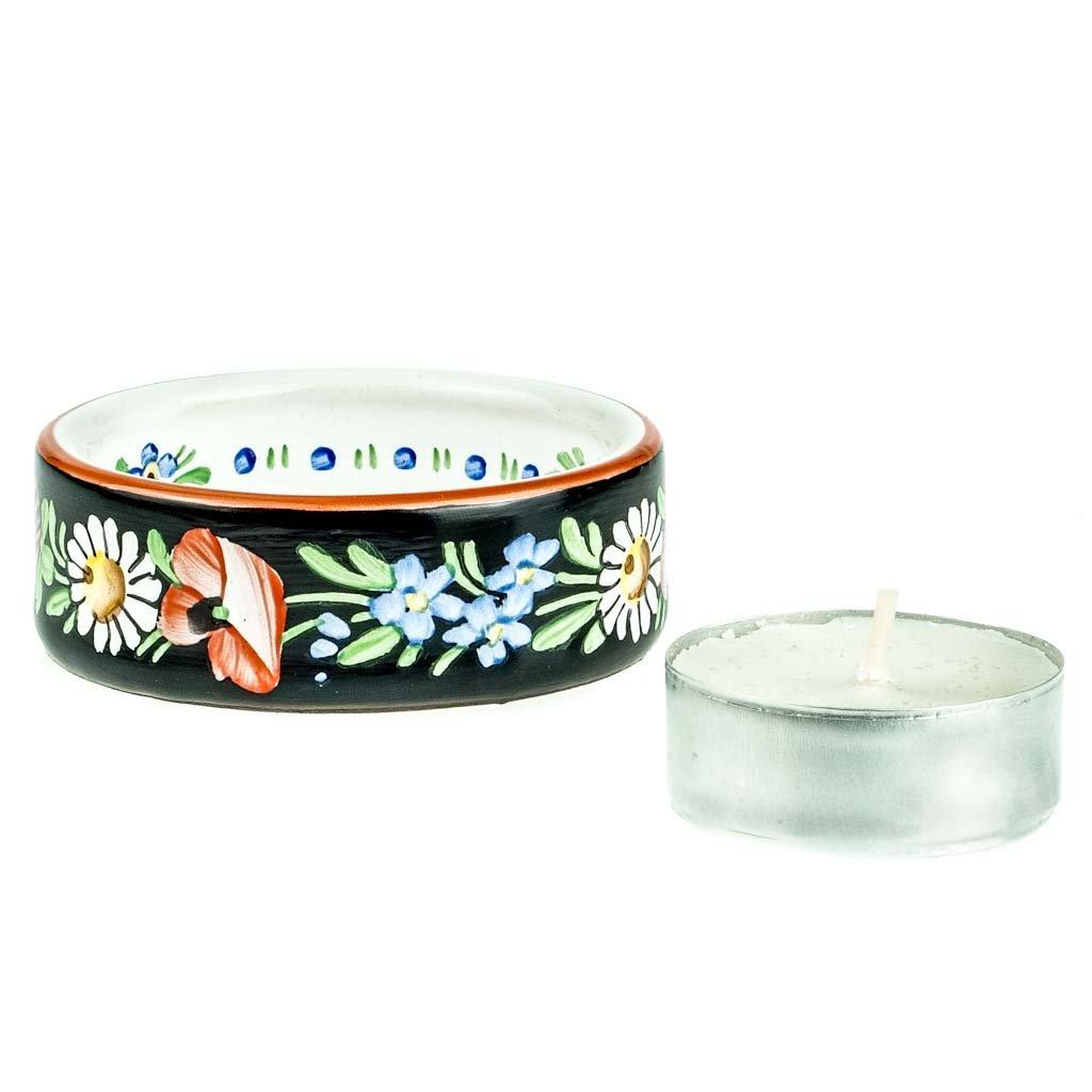 Kalíšek na svíčku, černý, černá chodská keramika