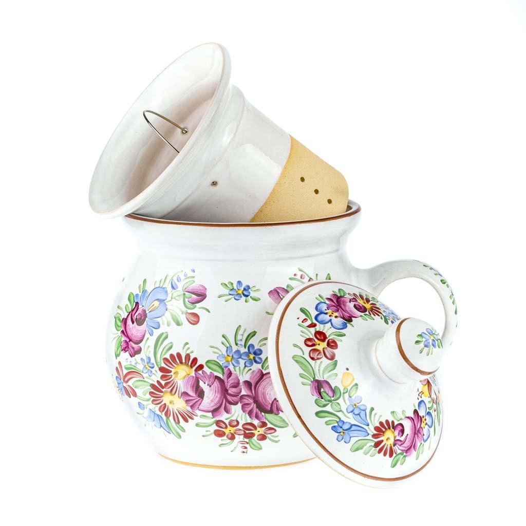 Bylinkový hrnek, bílá chodská keramika