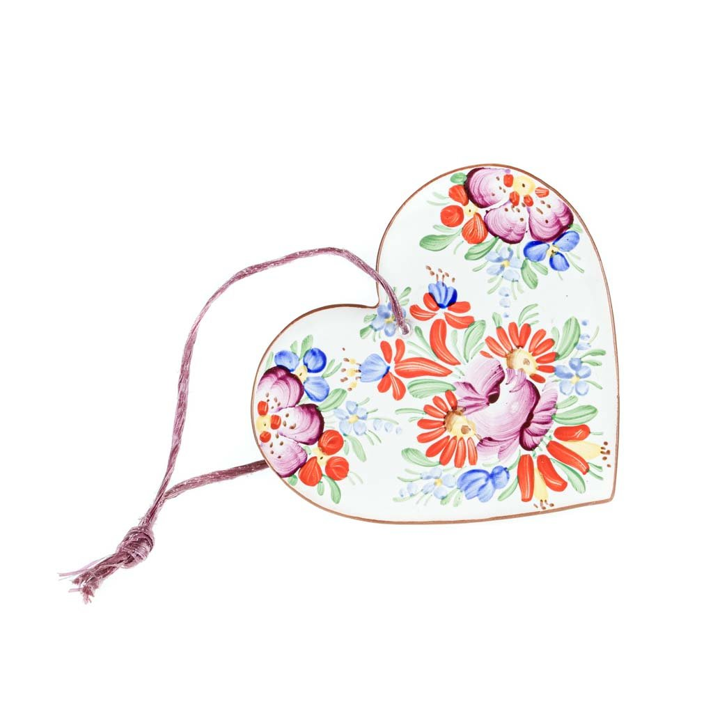 Srdce na zavěšení, bílá chodská keramika