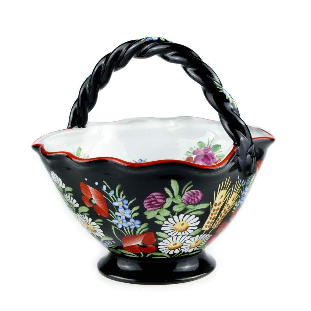 Koš střední, 18 cm, černá chodská keramika
