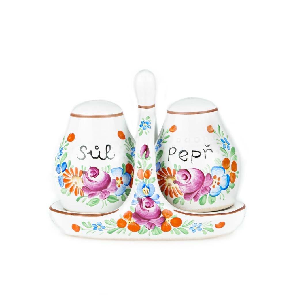 Souprava stolní, sůl a pepř, bílá chodská keramika