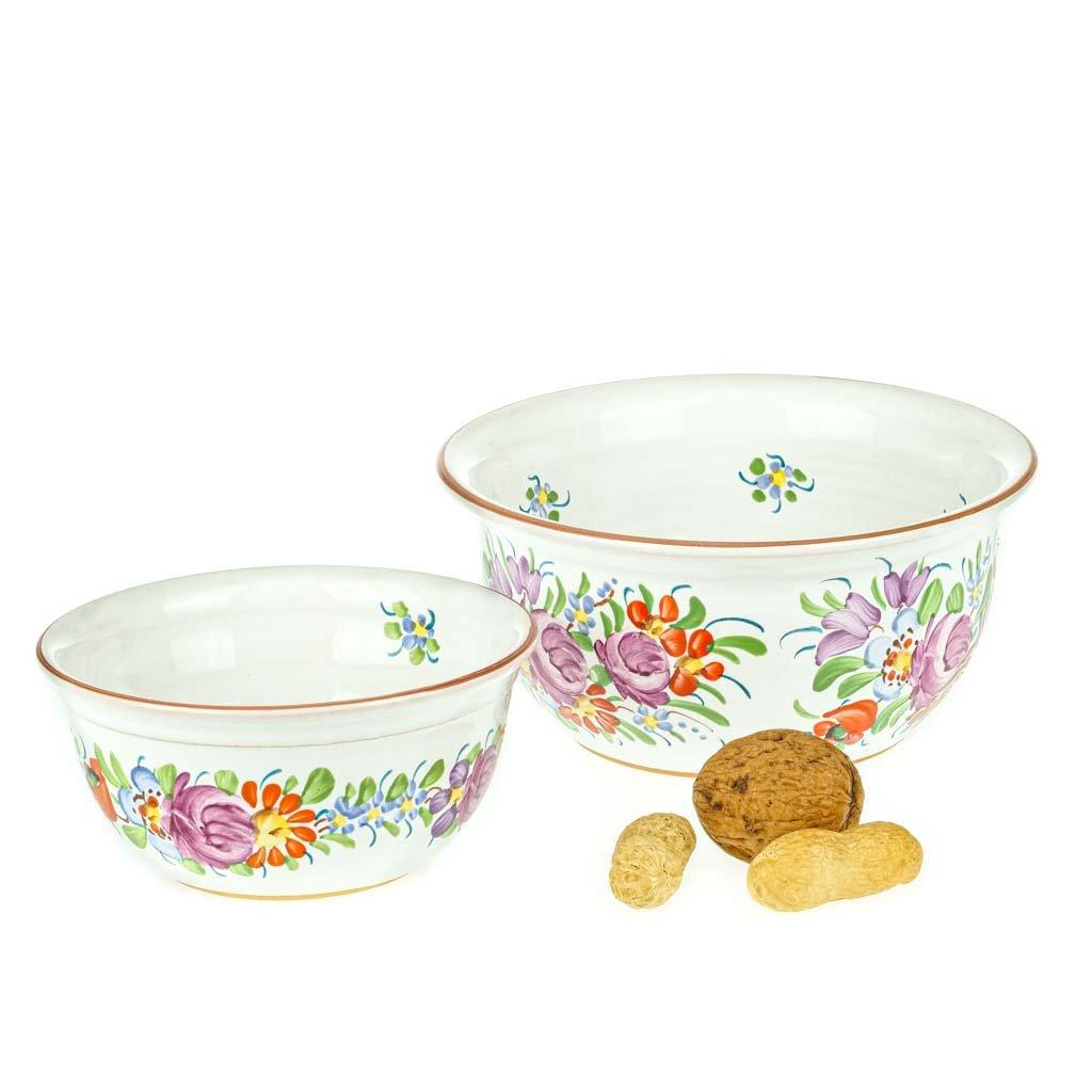 Sada 2 chodské misky, bílé, chodská keramika