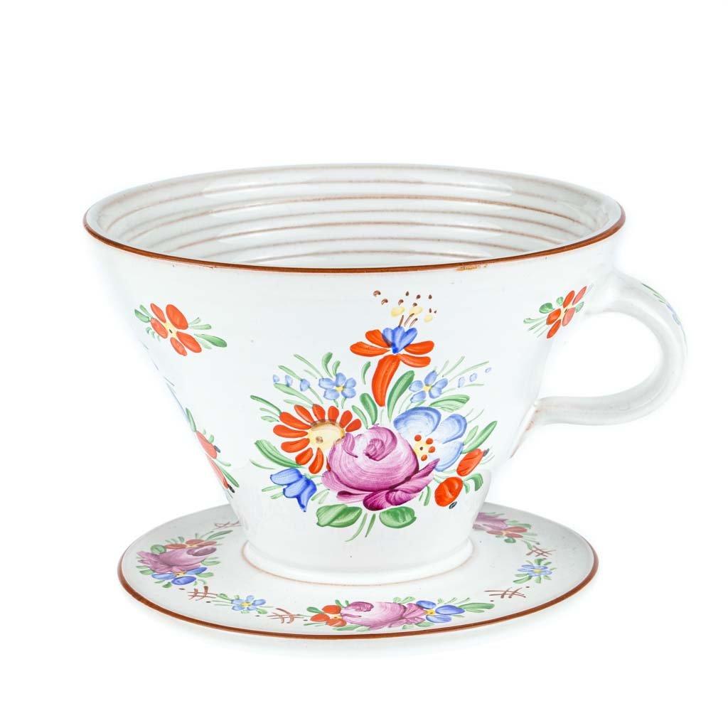 Dripper na filtrovanou kávu, bílá chodská keramika