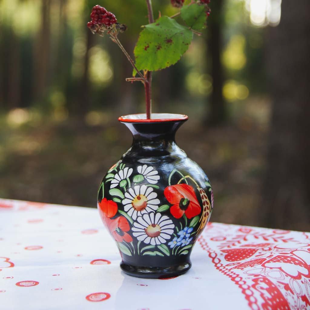 Váza 10cm, černá chodská keramika