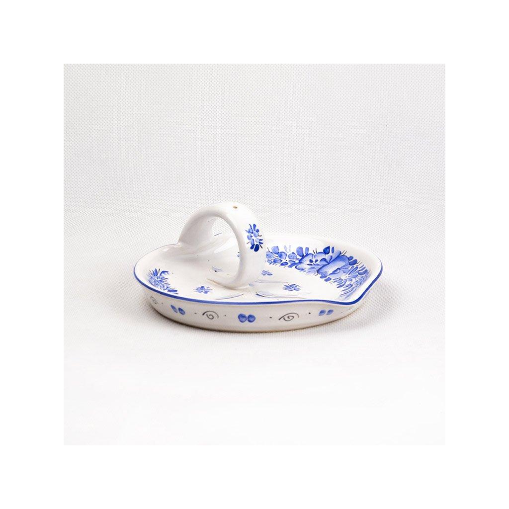 Talířek na vonnou tyčinku, modrá chodská keramika