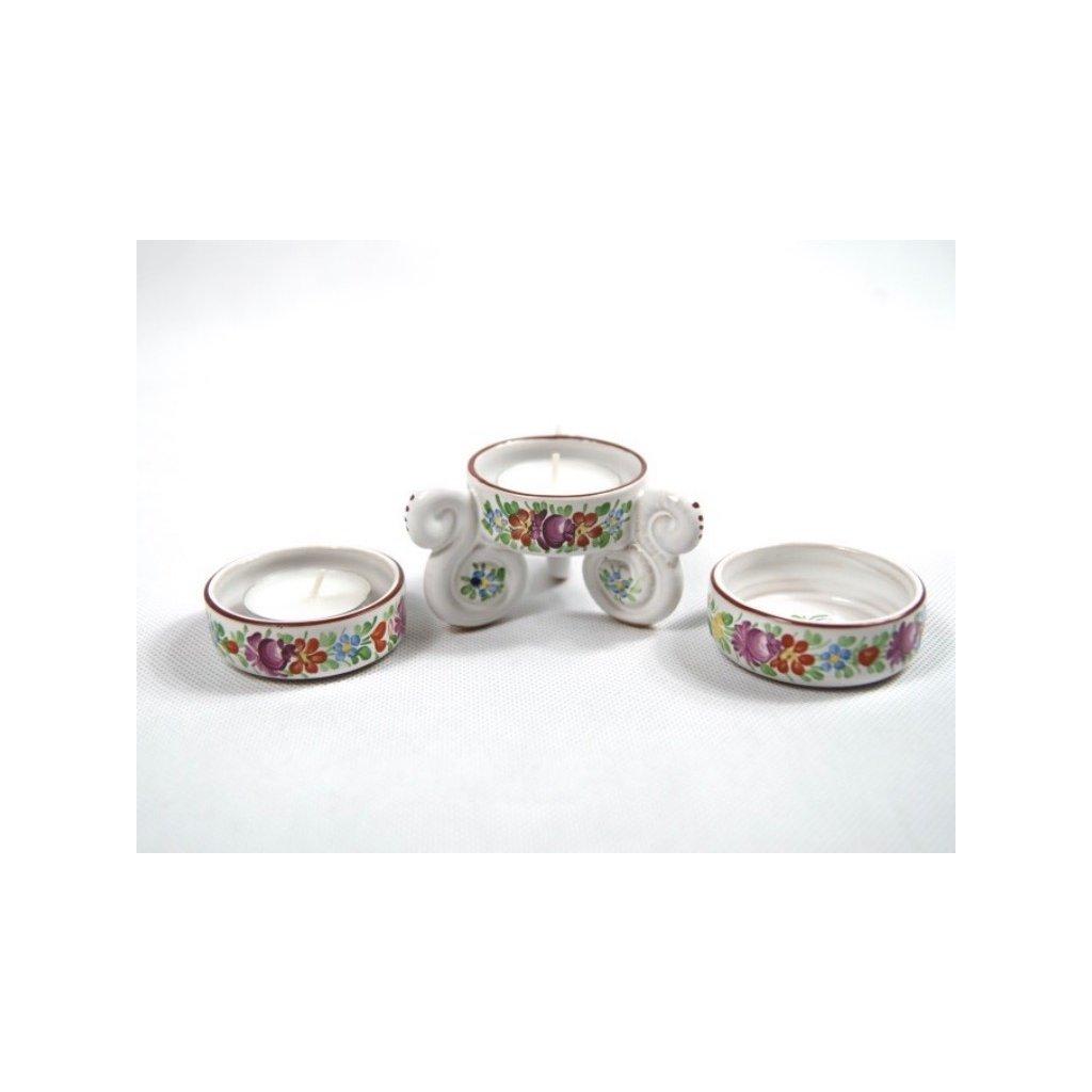 Svícen a dva kalíšky na svíčku, chodská keramika