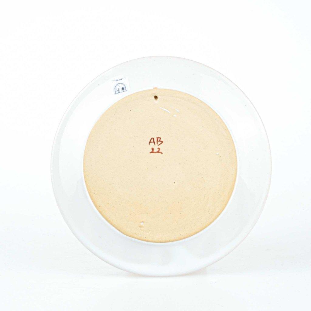 Talíř Domažlice na zavěšení, bílý, chodská keramika