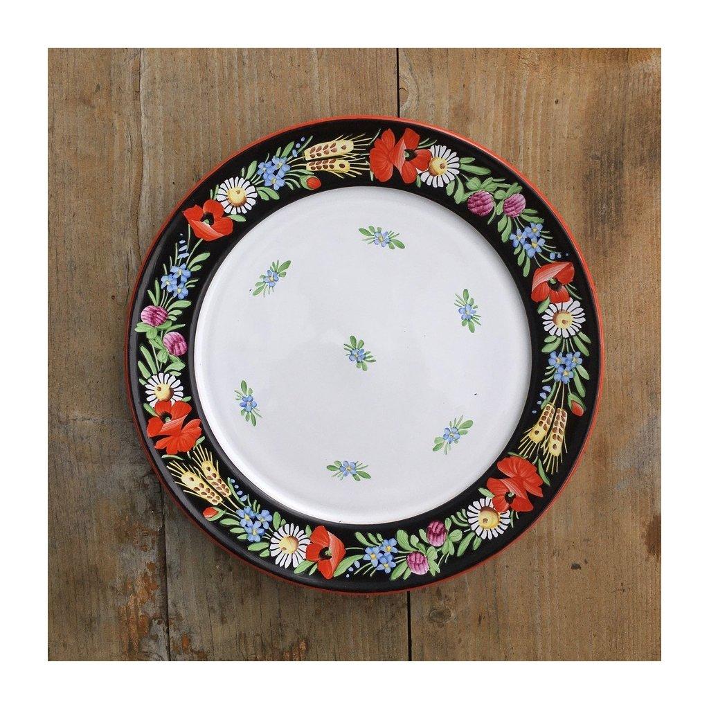 Talíř jídelní mělký, černý ø 24 cm