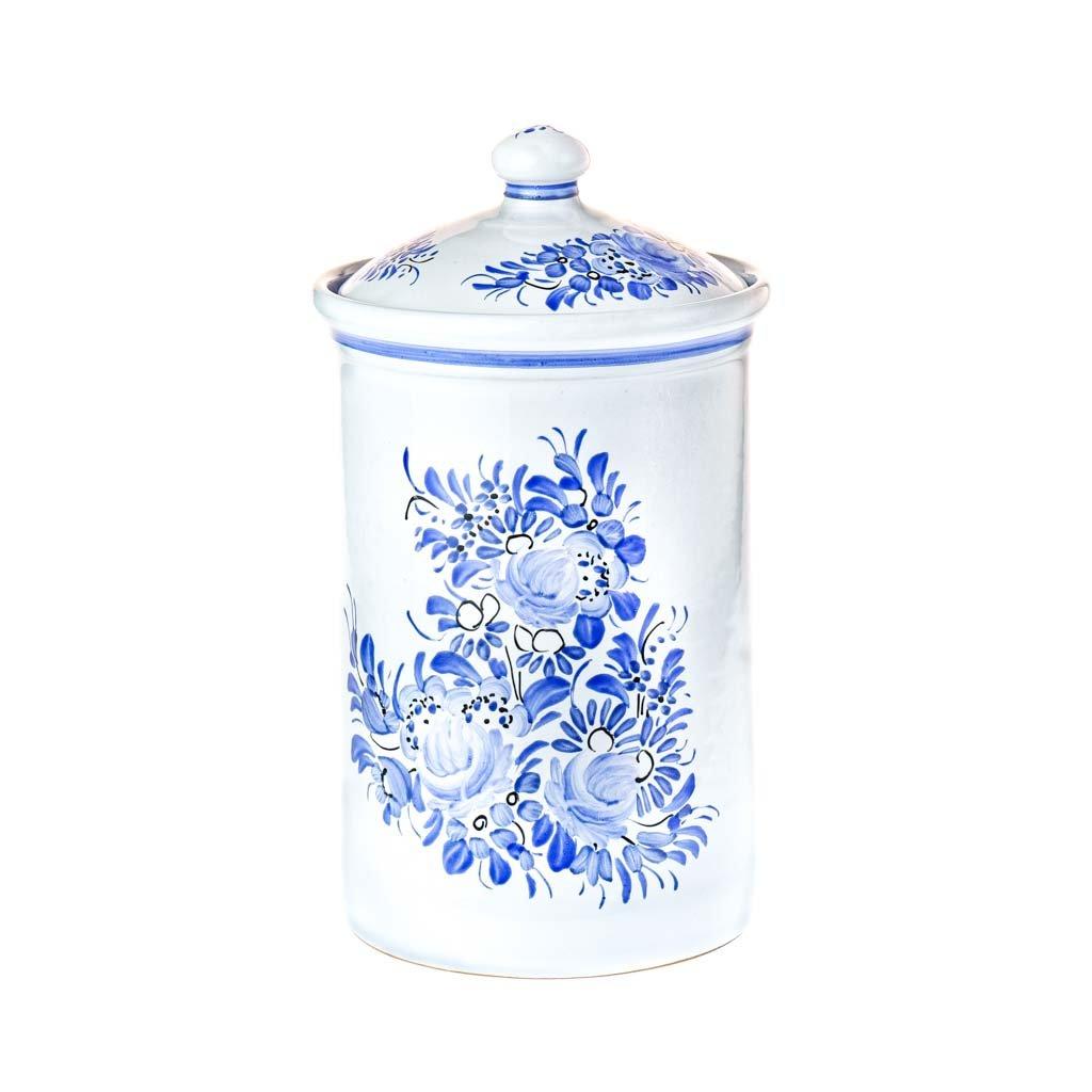 Keramická dóza 1l, modrá chodská keramika