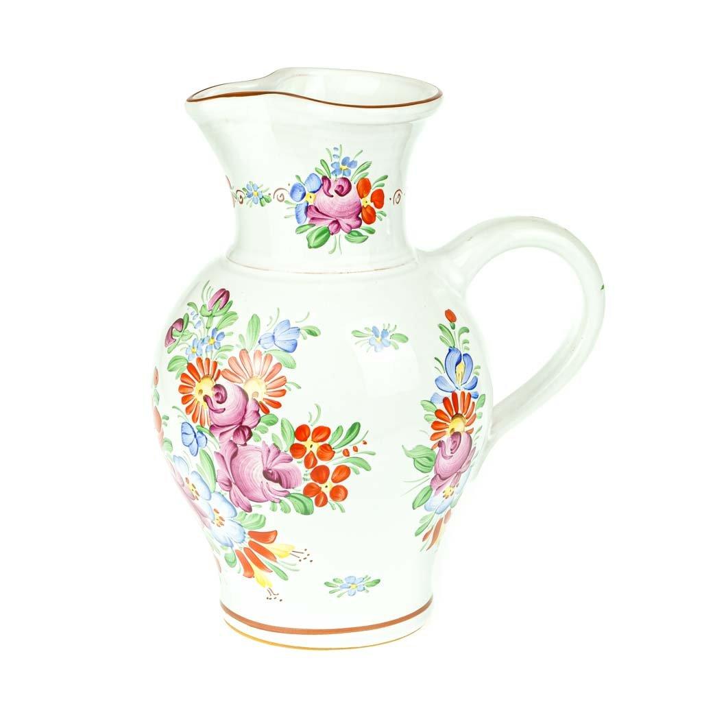 Džbán 1 l, bílý, chodská keramika