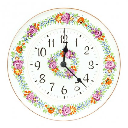 Nástěnné hodiny, rovné, bílá chodská keramika