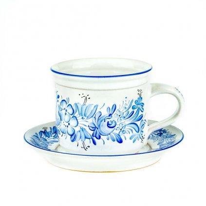 "Šálek s podšálkem ""Šapo"", modré, modrá chodská keramika"