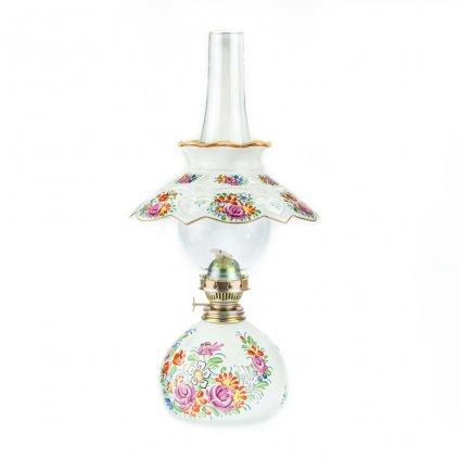 Petrolejová lampa, střední, bílá chodská keramika