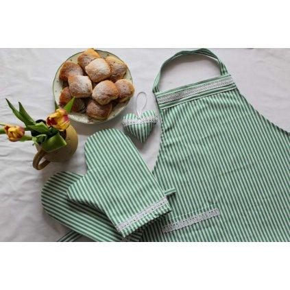 Kuchyňská zástěra s chňapkami, zelená