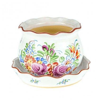 Květník s miskou, baňatý, bílá chodská keramika