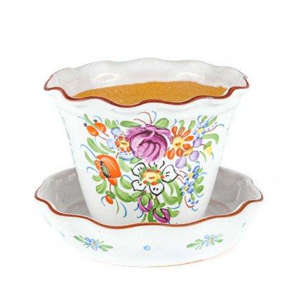 Květník s miskou, kónický, bílá chodská keramika