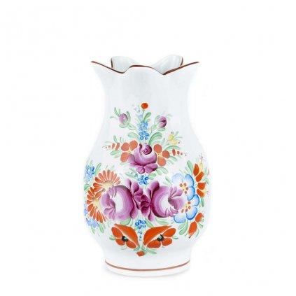 Keramická váza z Chodska, 20 cm, bílá chodská keramika