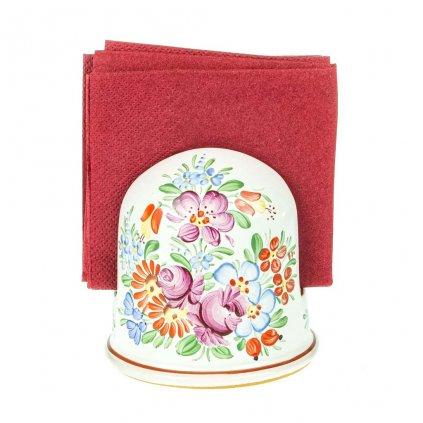 Stojánek na ubrousky, zoblený, chodská keramika