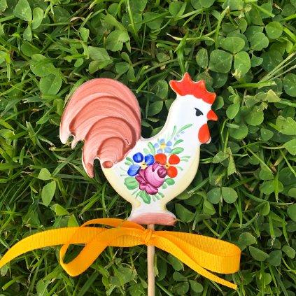Zápich do květináče - Kohoutek, chodská keramika