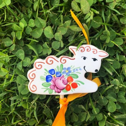 Zápich do květináče - Ovečka, chodská keramika
