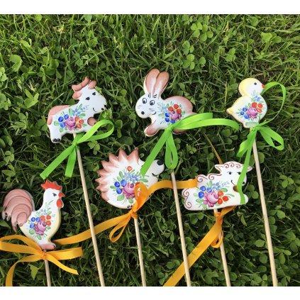 Sada 6 zápichů zvířátek do květináče, chodská keramika