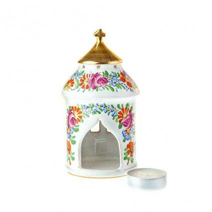 Kaplička, stojánek na čajovou svíčku, chodská keramika