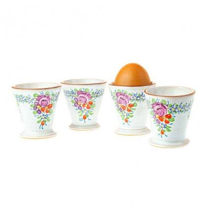 Sada 4 stojánků na vajíčka, chodská keramika