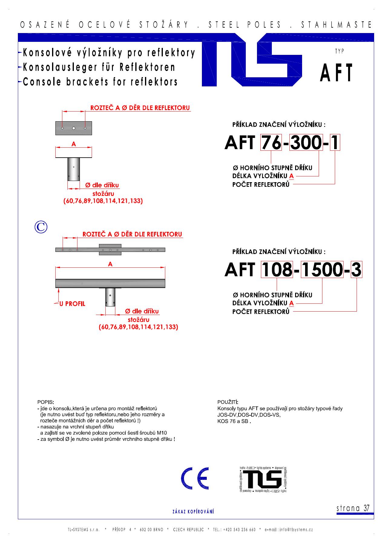 Katalogový list - výložník typu AFT