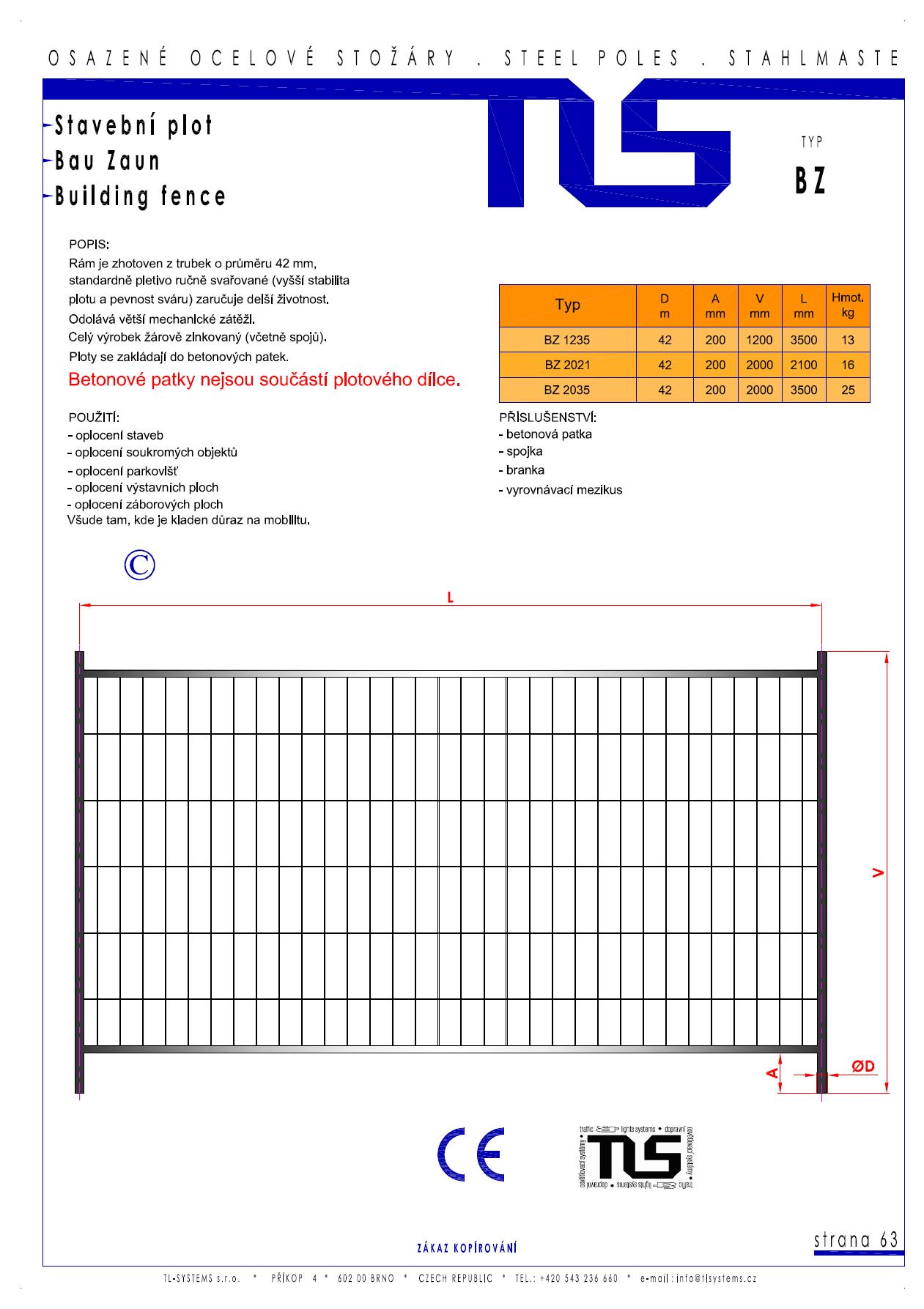 Katalogový list - stavební ploty typu BZ