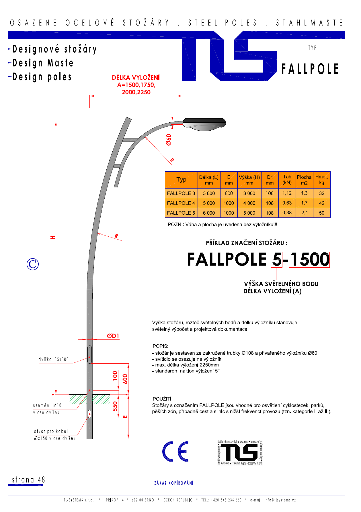 Katalogový list -stožár typu FALLPOLE