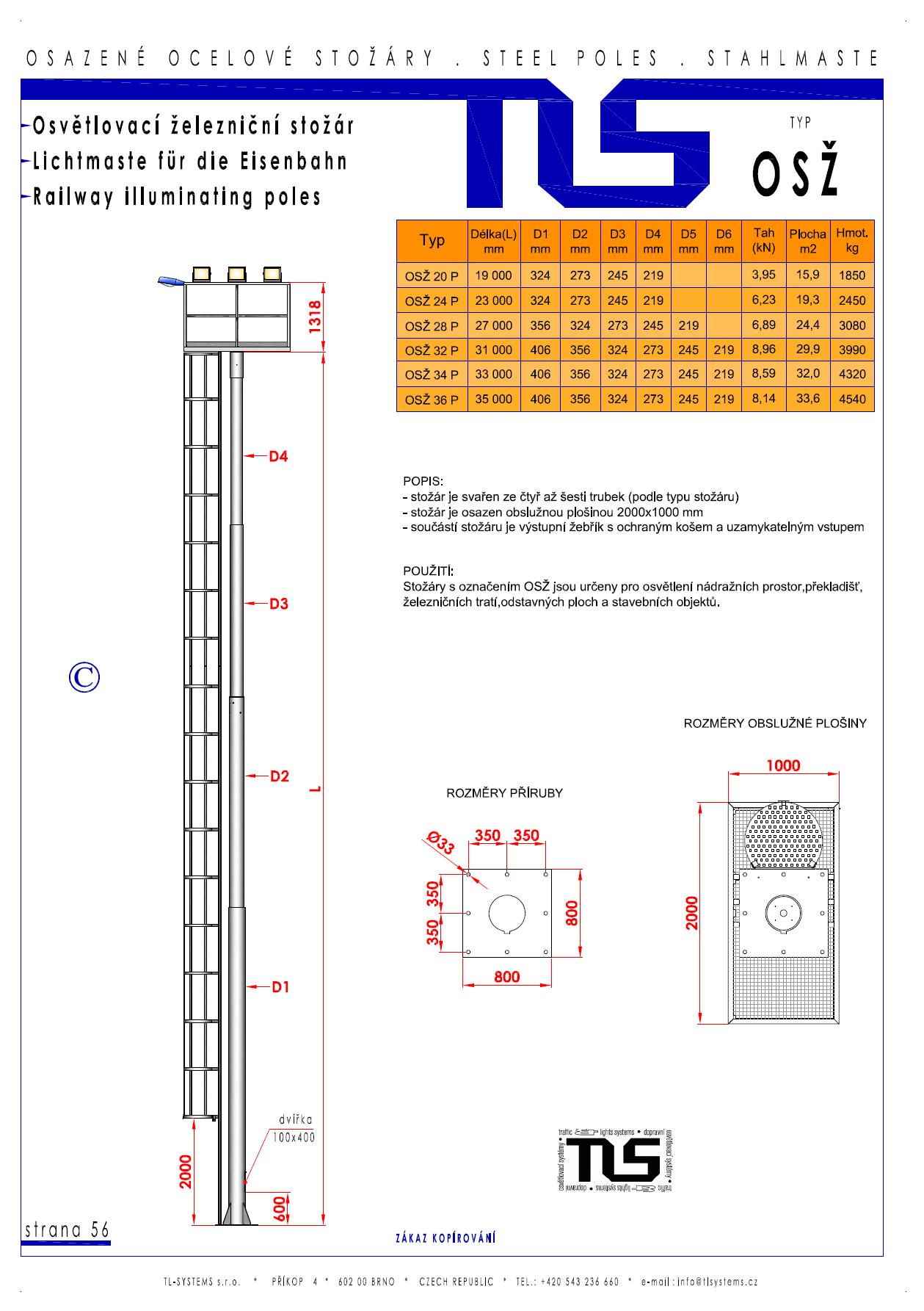 Katalogový list - osvětlovací věž typu OSŽ