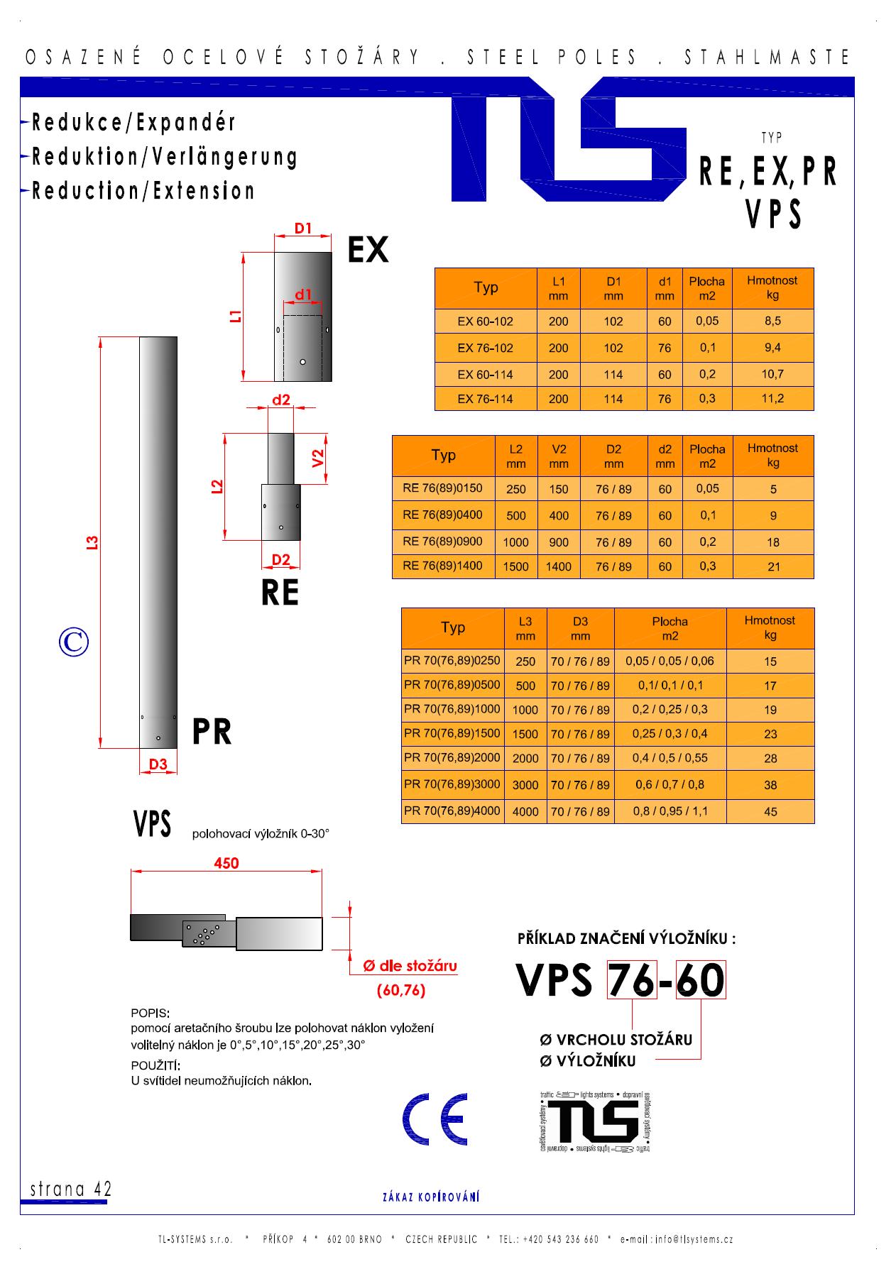 Katalogový list - výložníky typu RE, EXP, PR a VPS