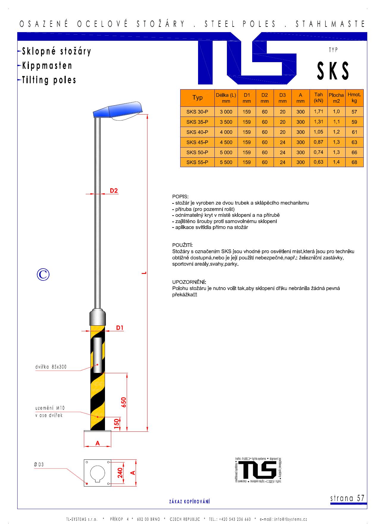 Katalogový list - stožár typu SKS