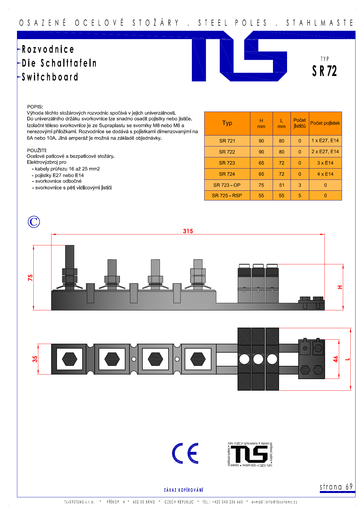 Katalogový list - svorkovnice typu SR