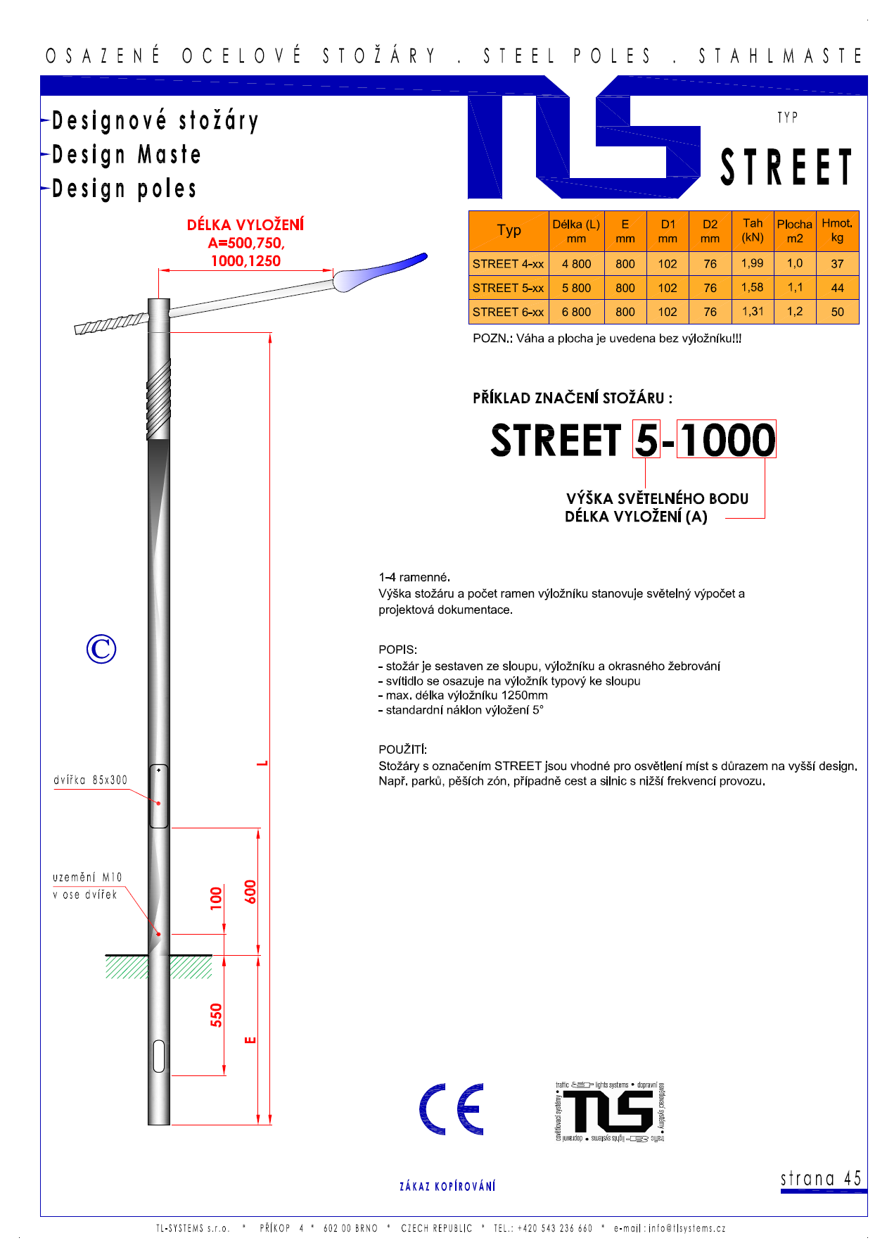 Katalogový list -stožár typu STREET