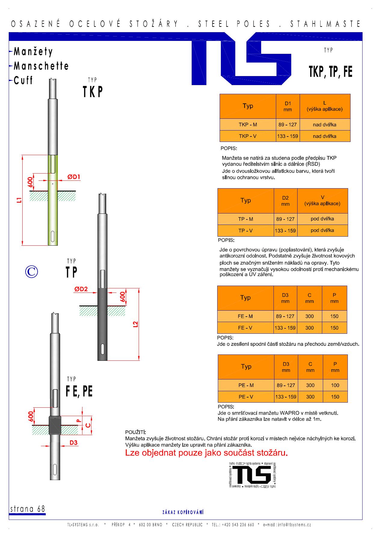 Katalogový list - manžety typu TKP,TP, FE a TP
