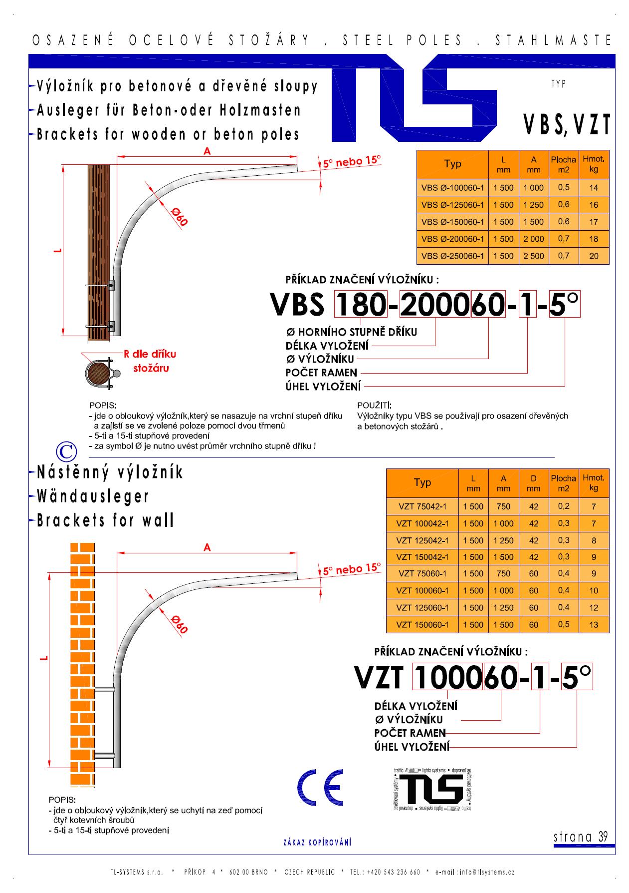 Katalogový list - výložníky typu VBS a VZT