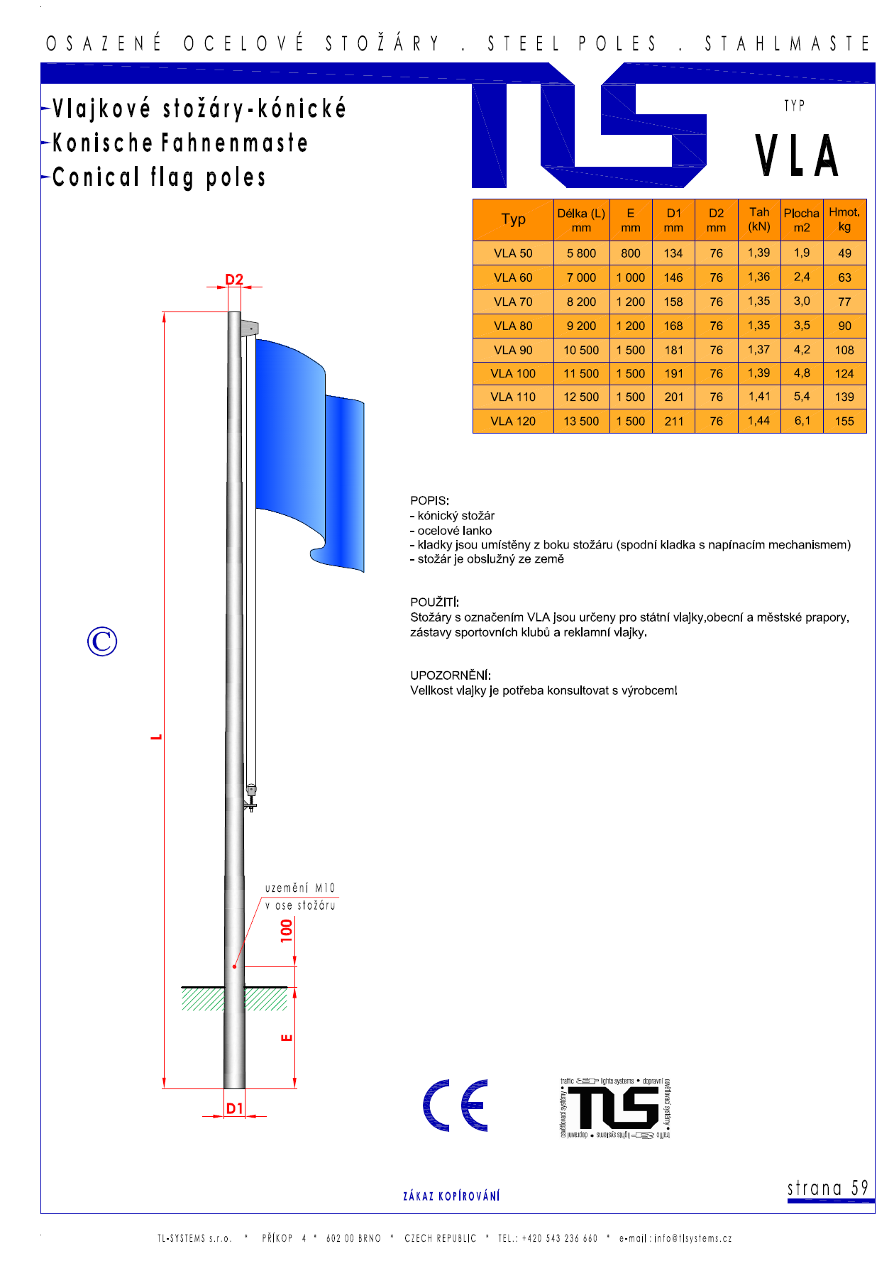 Katalogový list - stožár typu VLA