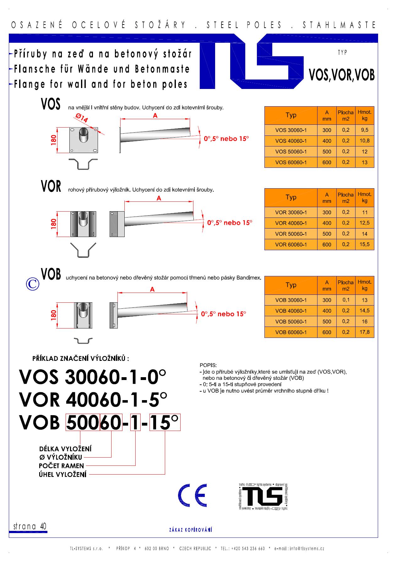 Katalogový list - výložníky typu VOS, VOR a VOB
