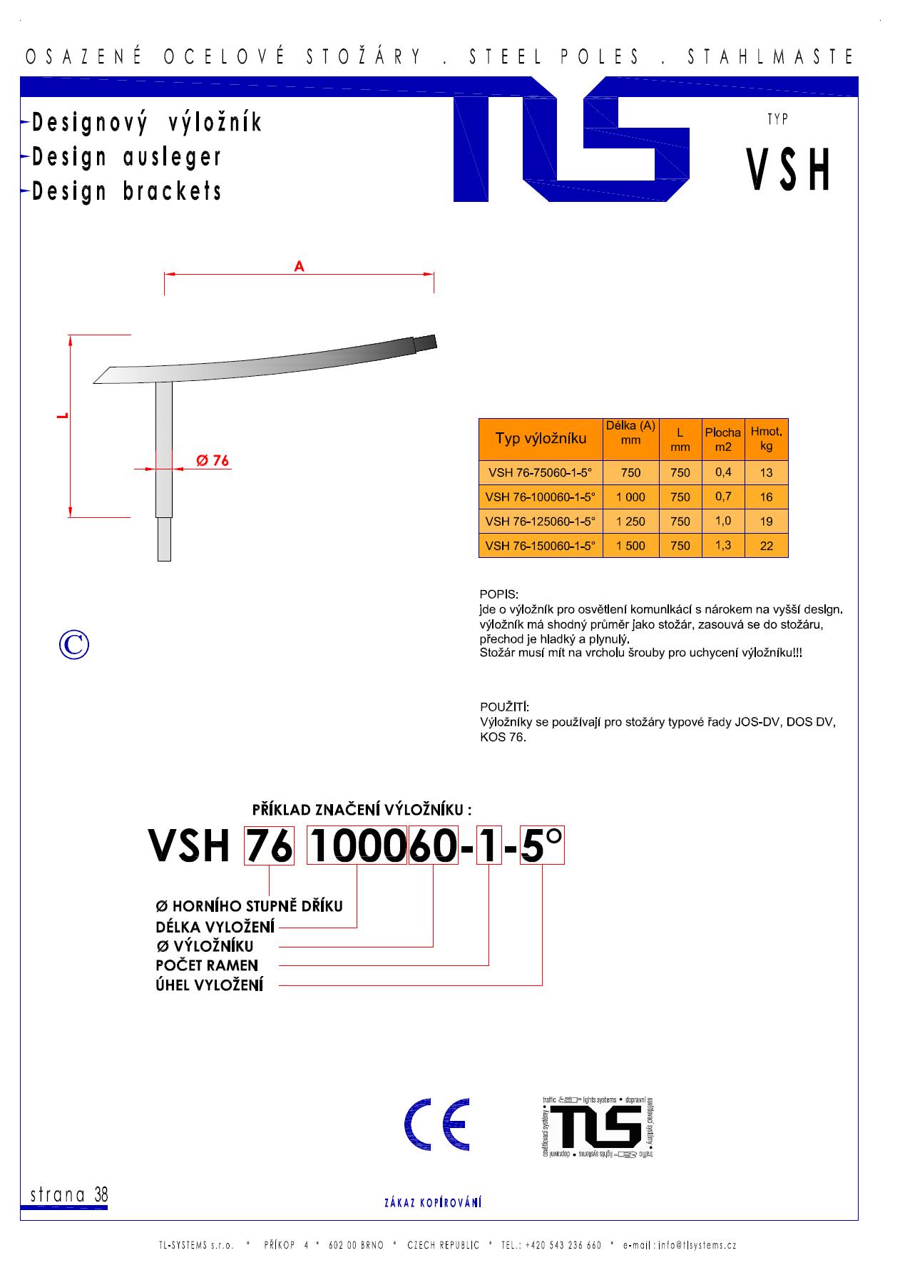 Katalogový list - výložník typu VSH
