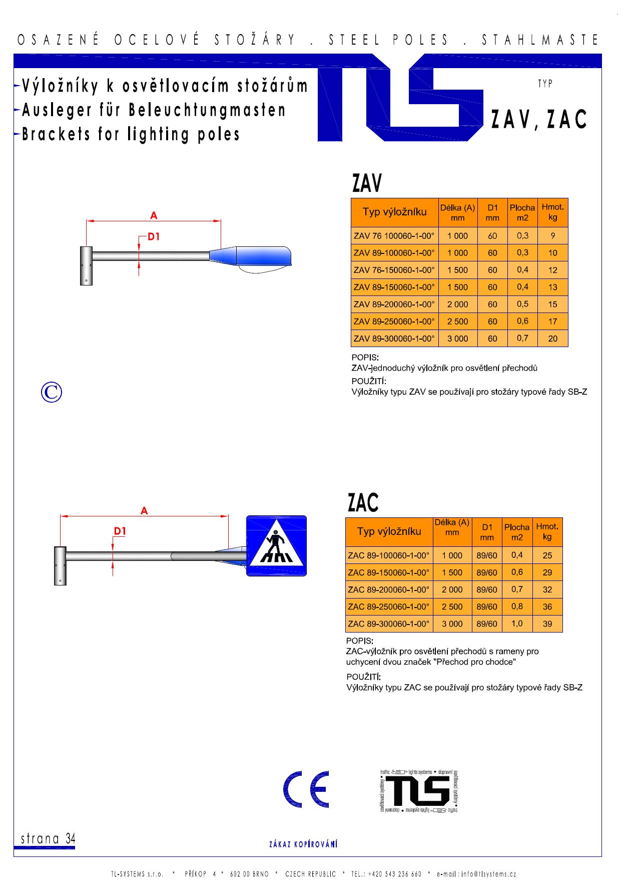 Katalogový list - výložník typu ZAV a ZAC