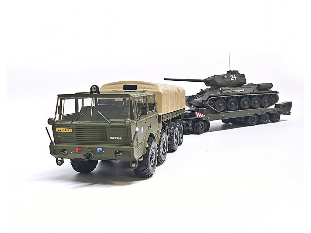 Set ČSLA Tatra 813 8x8 Kolos, podvalník Transporta P50 a Tank T34 1:43 FOX18