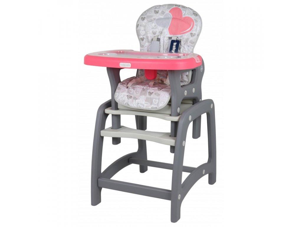 Jídelní židlička Srdce 2v1 růžová