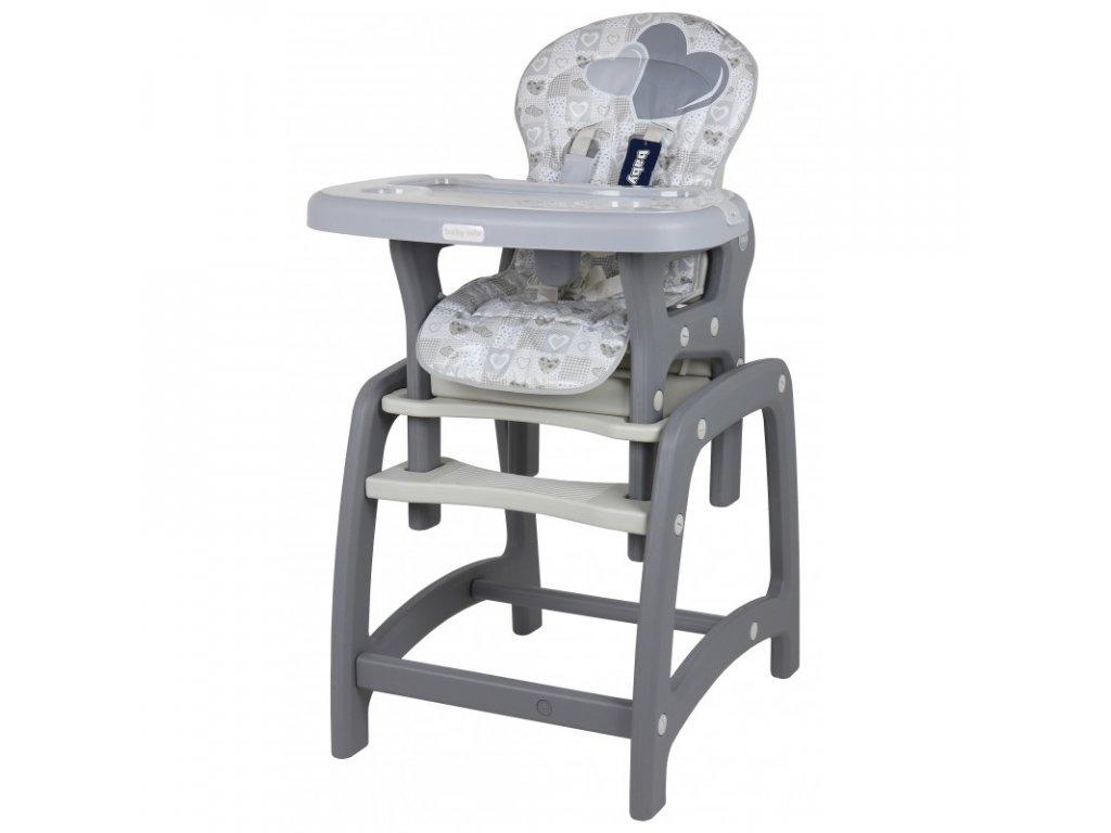 Jídelní židlička Srdce 2v1 šedá