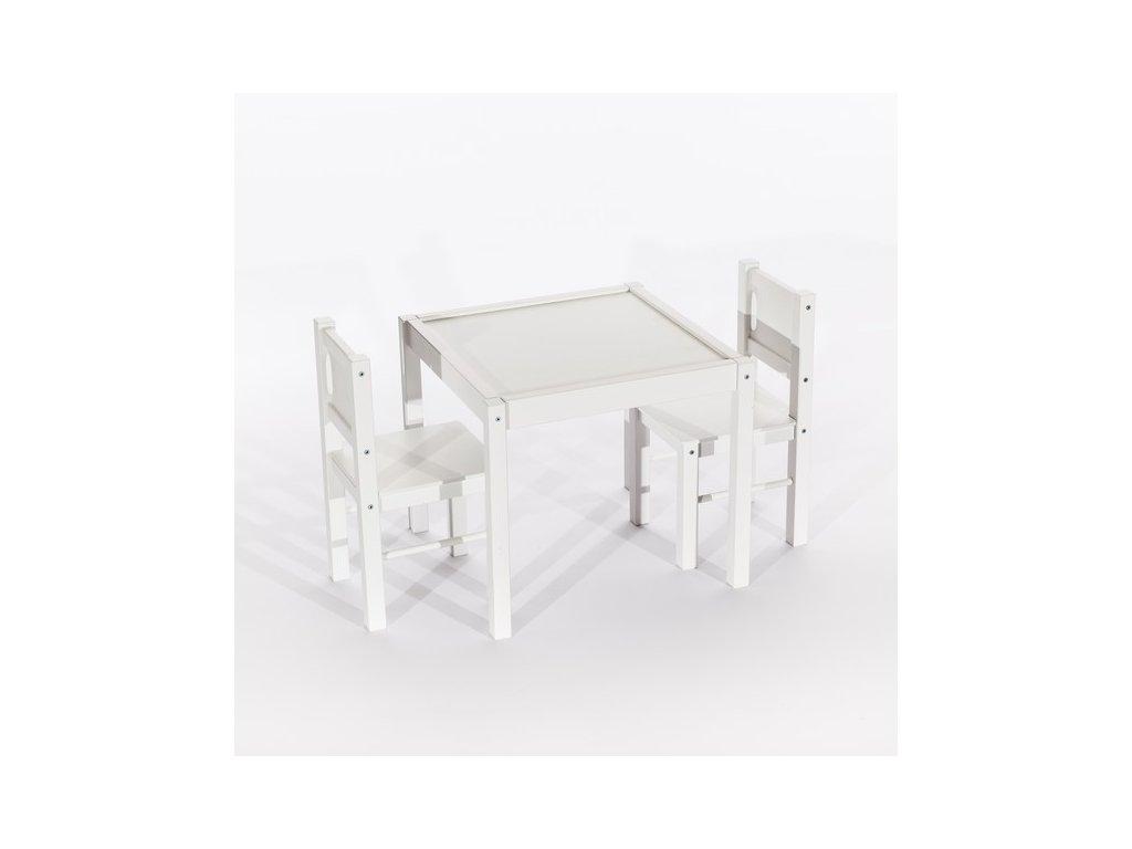 Tobiland dětský nábytek 3 ks, stůl s židličkami bílý (1)