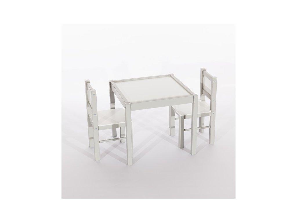 Tobiland dětský nábytek 3 ks, stůl s židličkami šedý (2)