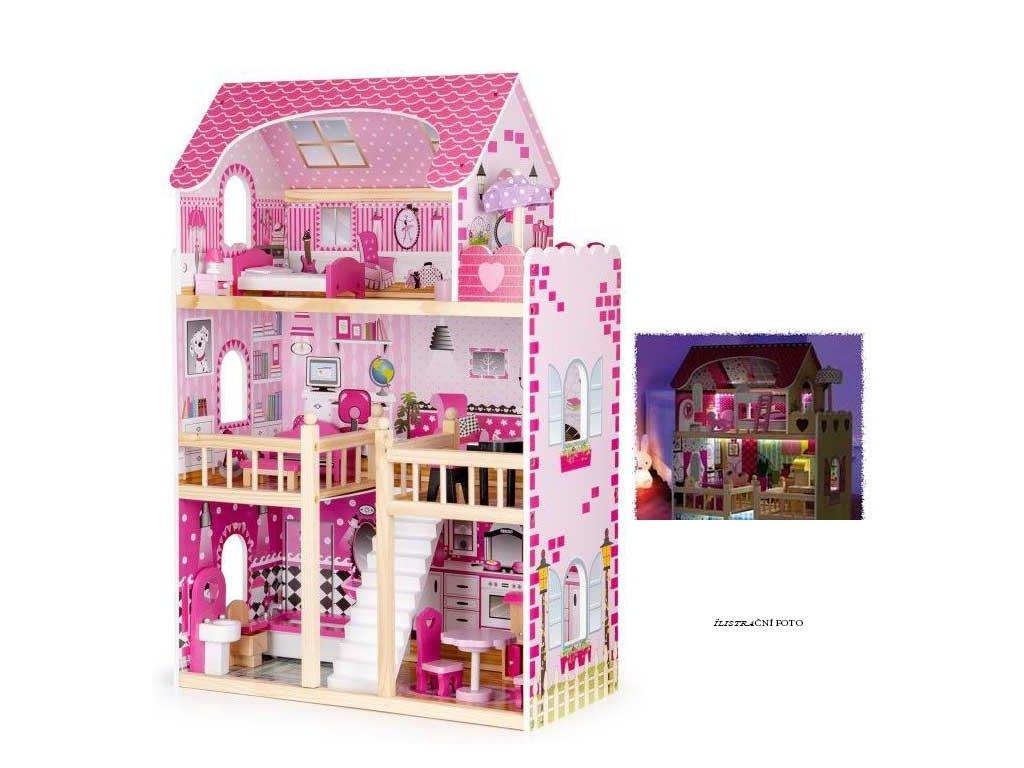 Eco Toys dřevěný domeček pro panenku s LED páskem růžový 90 cm