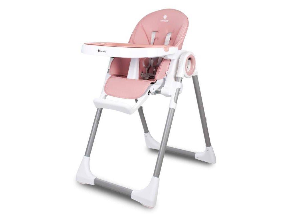 Sun Baby jídelní židlička FIDI 3v1 růžová