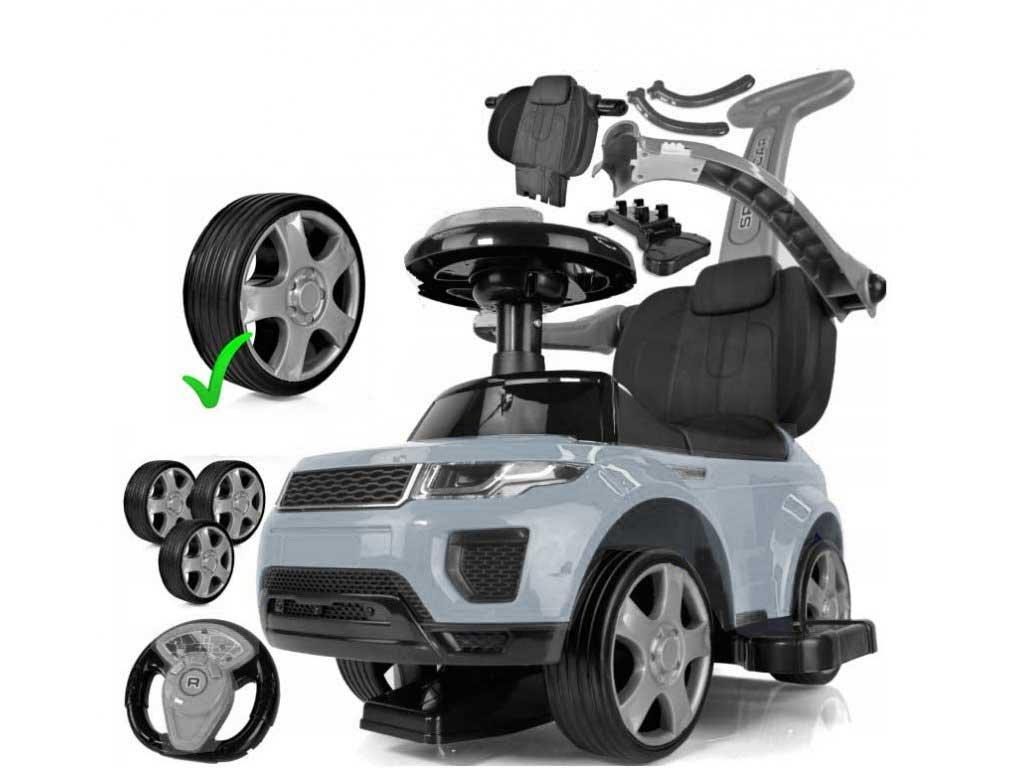 TBK odrážedlo Range Rover 4v1 s vodící tyčí a gumové kola šedé