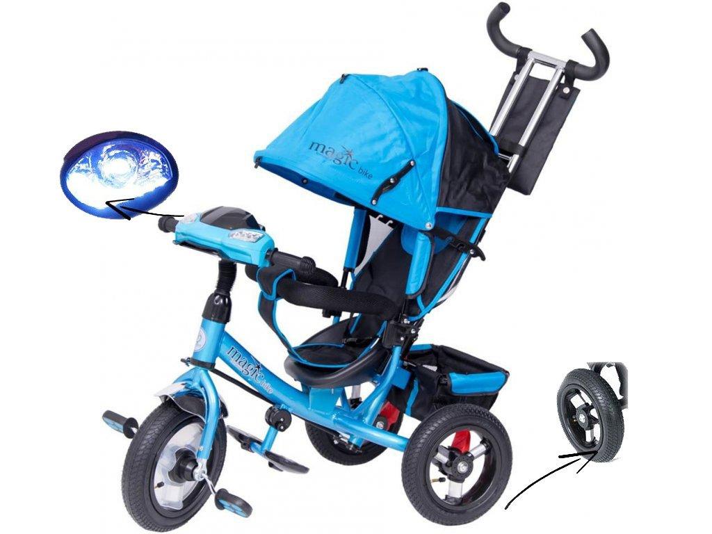 TBK tříkolka Tiger Magic s nafukovacími koly a LED modrá